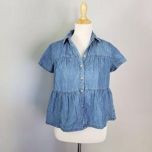 Madewell Denim Seamed Button-Down Shirt XS NWT
